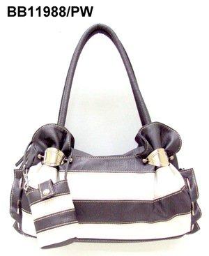 Pewter and White Stripe Handbag