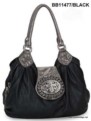 Black Cross Tote Handbag