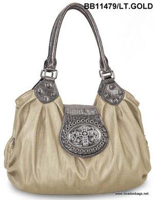 Light Gold Cross Tote Handbag