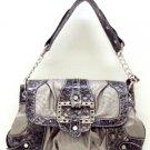 Dark Silver and Black Croc Handbag