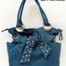 Teal and Stone Tie Tote Handbag - WITH COSMETIC CASE