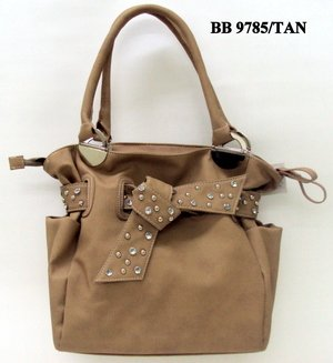 Tan and Stone Tie Tote Handbag - WITH COSMETIC CASE