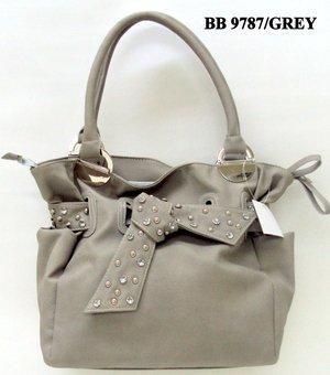 Grey and Stone Tie Tote Handbag - WITH COSMETIC CASE
