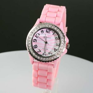 Pink and White Zebra Jelly Band Watch