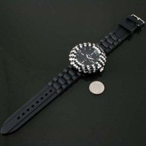 Black & White Rhinestone Jelly Band Watch