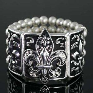 Black and Silver Pearl Stretch Bracelet