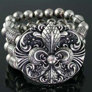 Metal Medallion Stretch Bracelet