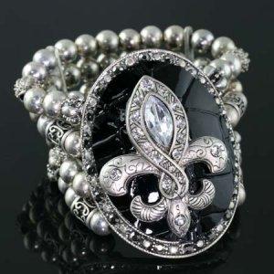 Black and Silver Medallion Stretch Bracelet