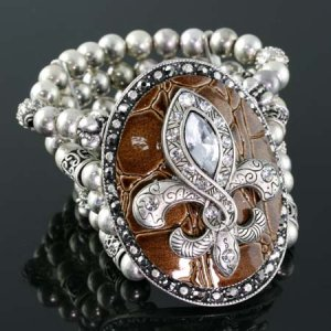 Brown and Silver Medallion Stretch Bracelet