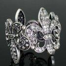 Topsy Turvey Dark Silvertone Fleur Stretch Bracelet