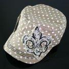 Khaki Rhinestone Fleur de Lis Beige Polka Dot Hat