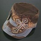 Trendy Brown & Grey Rhinestone Cross Hat