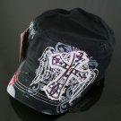 Trendy Black & Grey Rhinestone Cross Hat
