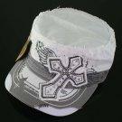 Trendy White & Grey Rhinestone Cross Hat