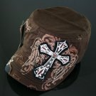 Trendy Brown Rhinestone Cross & Wings Hat
