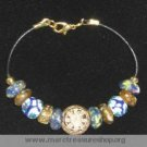 "8"" Multi Colored Glass & Brass Sun Beaded Bracelet - Item #: GB-2G"