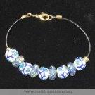 """8"""" White Flower & Speckled Beaded Bracelet - Item # TR-2EE"""