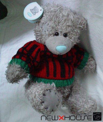Little Happy Nice Cute Grey Teddy Bear in Red Sweater !