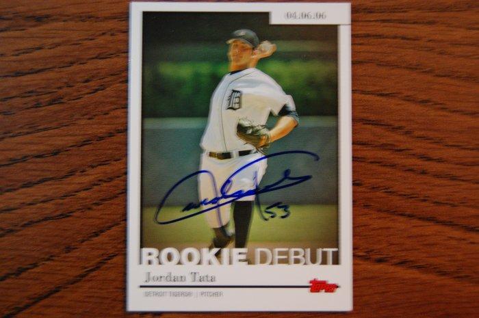 2006 Topps Update Rookie Debut Jordan Tata Autograph