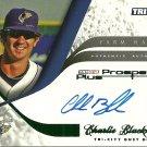 2008 Tristar Prospects Plus Farm Hands Green Border Charlie Blackmon Certified Autograph