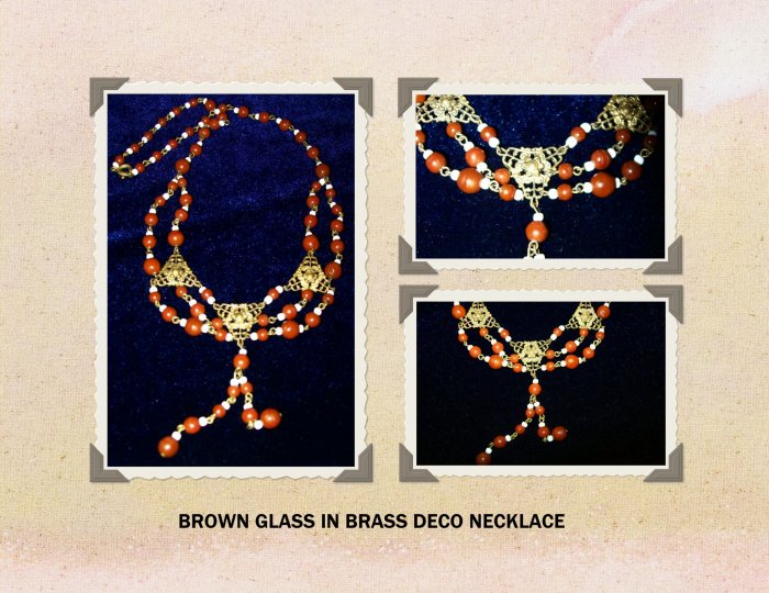 DECO BROWN GLASS BEADED NECKLACE