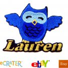 Custom Personalized Iron-on Patch - Blue Owl