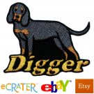 Custom Personalized Iron-on Patch - Black and Tan Coonhound