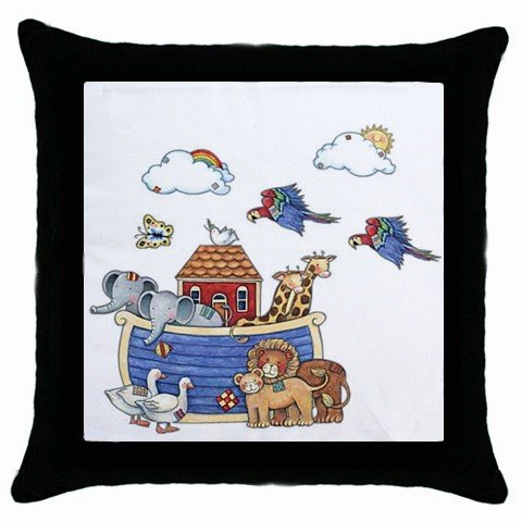 Noah's Ark Throw Pillow Case bedroom baby nursery decor Black Border 17760215