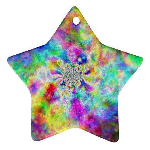 Retro Tie Dye Design Porcelain Star Christmas Tree Ornament 16972252
