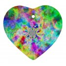 Retro Tie Dye Design Porcelain Heart Shape Christmas Tree Ornament 16972251 BSEC