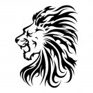 Black and White Lion Head Bathroom Shower Curtain