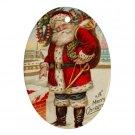 Vintage Santa Clause Design Porcelain Oval Shape Christmas Tree Ornament 23174717 BSEC
