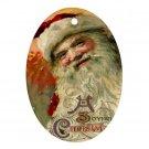 Santa Clause Vintage Design Porcelain Oval Shape Christmas Tree Ornament 23174762 BSEC