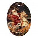 Vintage Santa Design Porcelain Oval Shape Christmas Tree Ornament 23174763 BSEC
