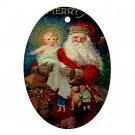Vintage Santa Design Porcelain Oval Shape Christmas Tree Ornament 23174764 BSEC