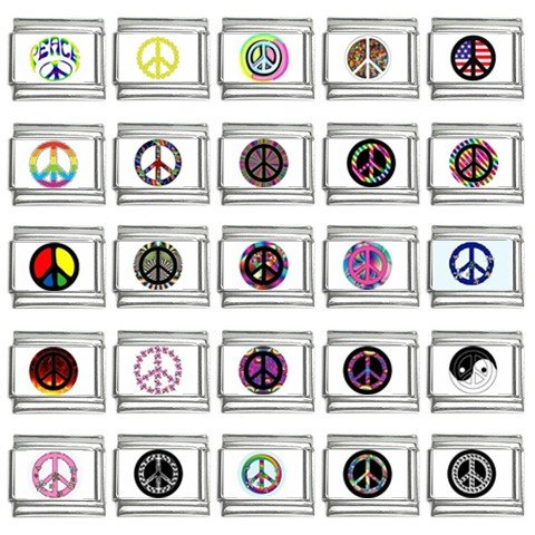 PEACE Signs Italian Charms Bracelet Set of 25 pack 9mm 14667090