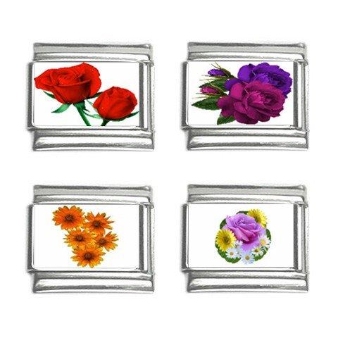 Flowers Floral Italian Charms Bracelet Set of 4 pack 9mm 14713959