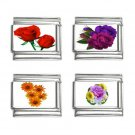Flowers Floral Italian Charms Bracelet Set of 4 pack 9mm 14713959