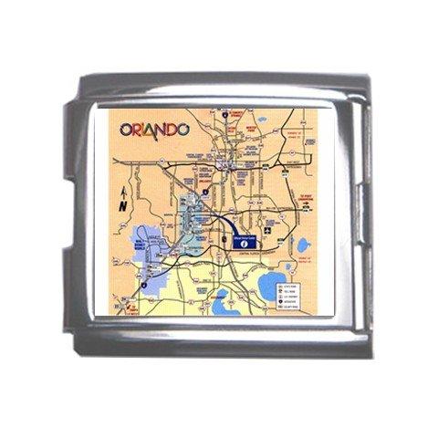 ORLANDO Map Souvenir Italian Charm  Bracelet Single MEGA Charm Size 18mm 23654605