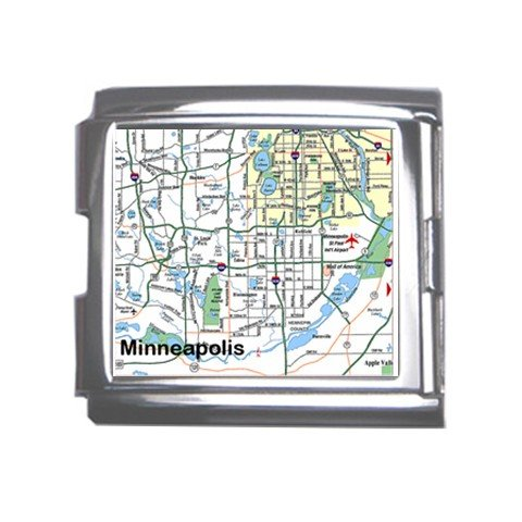 MINNEAPOLIS Map Souvenir Italian Charm  Bracelet Single MEGA Charm Size 18mm 23655215
