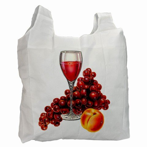 Wine and Grapes Polyester Recycle Green Tote Bag Grocery Bag 13.75 x 16 inches Handbag 27028718