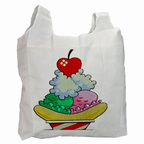 ICE CREAM SUNDAE Polyester Recycle Green Tote Bag Grocery Bag Handbag 27028737