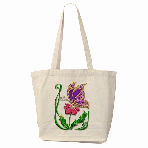 BUTTERFLY Large Canvas Tote Bag 18 x 14 inches Handbag 27034103