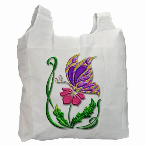 BUTTERFLY Polyester Recycle Green Tote Bag Grocery Bag Handbag 27034104