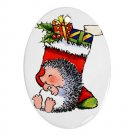 CHRISTMAS HEDGE HOGS Ornament Porcelain Oval Shape Christmas Tree 27175084 BSEC