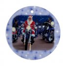 CHRISTMAS SANTA ON MOTORCYCLE Harley Ornament Porcelain Round Shape Christmas Tree 27175017 BSEC