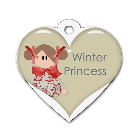 BRUNETTE WINTER PRINCESS Heart Shape Necklace Dog tag jewelry 27354537 BSEC