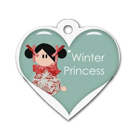 BLACK HAIR WINTER PRINCESS Heart Shape Necklace Dog tag jewelry 27354543 BSEC