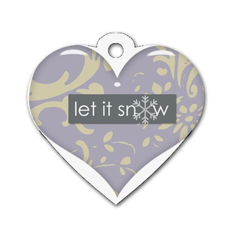 LET IT SNOW Heart Shape Necklace Dog tag jewelry 27354550 BSEC