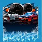 "RACING CARS VELVETEEN PLUSH FLEECE BLANKET 80"" X 60"" QUEEN #BSEC-CT"